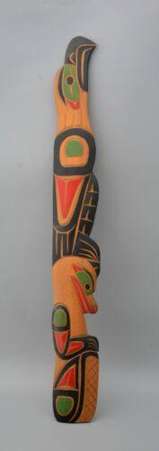 "Northwest Coast Salish Totem Wall Plaque - Eagle & Beaver - David Louis 23"" Tall"