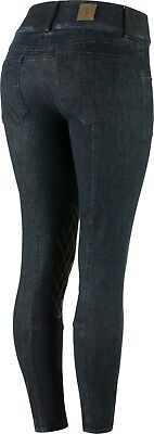Horze Women's CLARA Denim Blue Silicone Grip Knee Patch Stretch Breeches SALE (Sale Breeches)