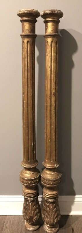 "Pair 19th Century Italian Gilt Wood Carved Columns 41.5"" Architectural Salvage"