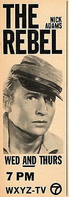 1963 WXYZ DETROIT TV AD~NICK ADAMS in THE REBEL~CIVIL WAR ERA TELEVISION SERIES