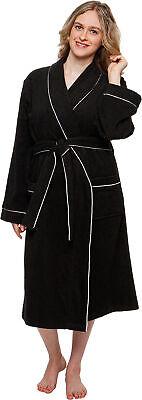 Silver Lilly Women's 100% Cotton Terry Cloth Kimono Spa Bath Robe w/ Piping Cotton Spa Robe
