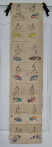 Antique / Vintage Thai Samut Khoi Paper Diagram / Colored Book of Dancers