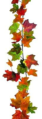 Fall Leaves Garland (Artificial Maple Leaf Fall Garland Thanksgiving Autumn Harvest Floral 6 ft)
