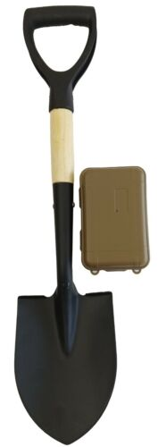 27 INCH METAL DETECTING D HANDLE SHOVEL WITH FINDS CASE