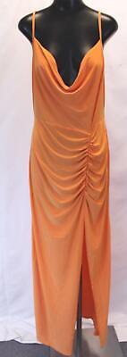 Boohoo Women's Plus Ruched Split Detail Cowl Neck Dress SD8 Orange Size US:12