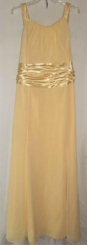 Davids Bridal Long Formal Dress SIZE 26 Pale Pastel Yellow Satin Ribbon Gown