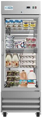 Stainless Steel 1 Glass Door Commercial Reach In Refrigerator Cooler 23 Cu. Ft.