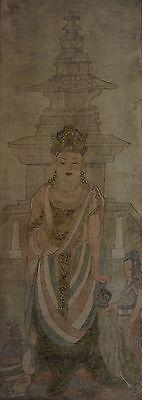 Very Fine Korean Joseon Dynasty Buddha Kwan Yin Figure Painting on Silk