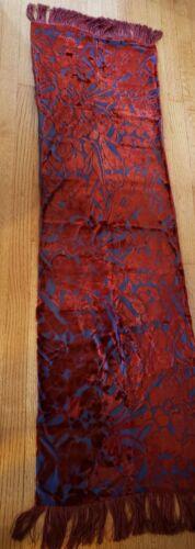 Dresser Scarf 1920s burned vintage velvet floral & leaf design
