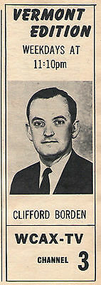 1966 Wcax Tv Ad   Clifford Cliff Borden Hosts The News In Burlington Vermont