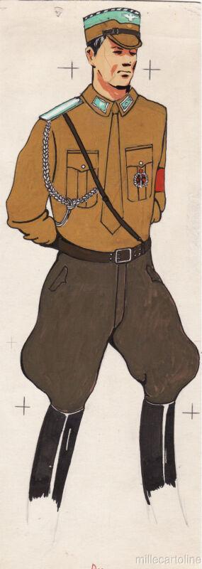 * WWII ORIGINAL MILITARY SKETCH - Army Uniforms - German Soldier,SA Sturmfuehrer