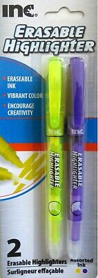 Inc. Eraseable Highlighters Chisel Tip 2 Count Pack Yellow Purple