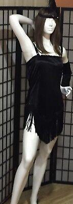 GATSBY BLACK FRINGE ROARING 1920'S FLAPPER 3 PC COSTUME& FINGER GLOVES-HEAD PC - Flapper Gloves Black