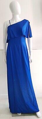 Aidan Mattox Women Blue One Shoulder A-Line Slit Gown Evening Dress Size UK10