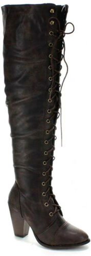 Forever Women's Chunky Heel Lace Up Over The Knee High Ridin