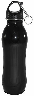 25 oz - Stainless Steel Sports Water Bottle With Clip - Wide Mouth - Bicycling