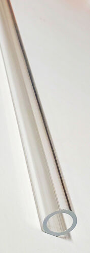 "1/2"" OD 3/8"" ID DIAMETER 24"" INCH LONG THIN WALL CLEAR ACRYLIC PLEXIGLASS TUBE"