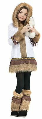 Eskimo Costume Child Girls Hooded Faux Fur Indian Outfit Fancy Dress Kids S NEW