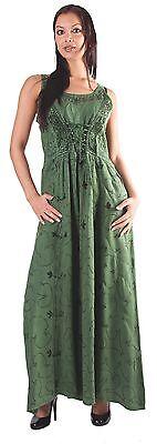 Mittelalter Kleid Grün (Mittelalter-Kleid in grün ärmellos Schnürung Stickerei Gr. S/M)
