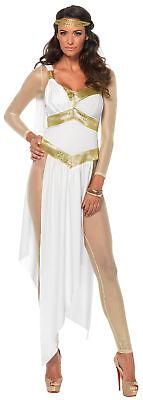Gelbgolden Göttin Erwachsene Damen Kostüm Gold Abgeschnitten Überzug Kleid (Goldene Göttin Erwachsenen Kostüme)