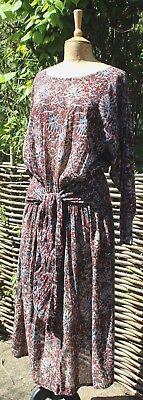 Vintage ANOKHI Jaipur Indian Block Print Gauzy Dress  - UK 16
