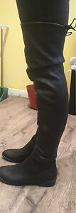 Black faux leather above the knee boots Kawartha Lakes Peterborough Area image 4