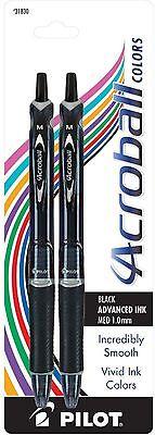 Pilot Acroball Colors Retractable Ink Medium Ball Point Pens Black 2 Ea