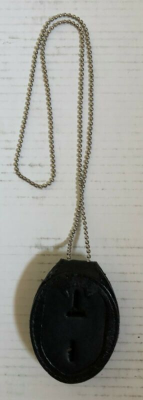 New Black Leather Badge Holder with necklace chain & belt clip