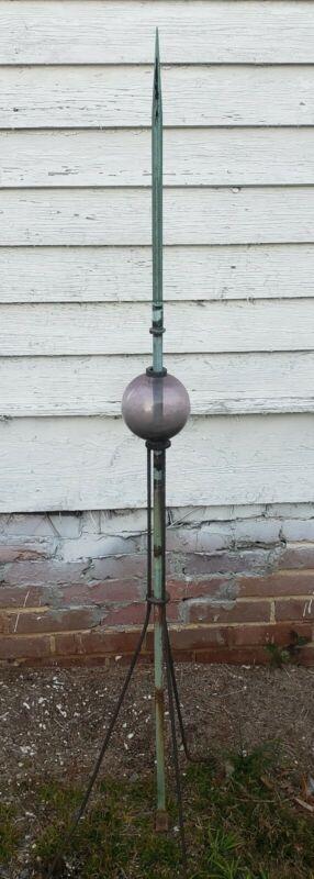 Antique Lightning Rod Amethyst Glass Ball Copper Rod