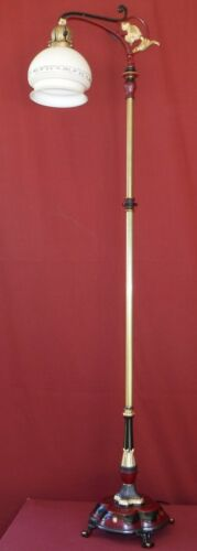 1920s Rembrandt Bridge Floor Lamp with Glass Shade