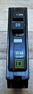 Square D Type//TIPOQO 20 Amp Single Pole AD-6790 Circuit Breaker 10KA 120//240V