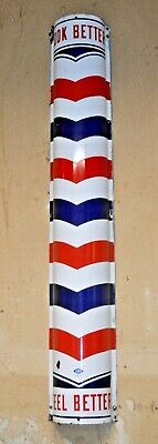 Vintage William Marvy Porcelain Curved Barbershop Barber Pole Sign 48