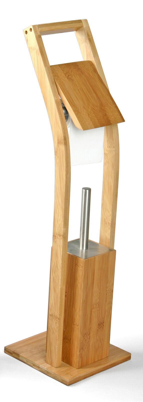 WC Garnitur Toilettenbürste Klobürste Bürstengarnitur Bambus Bad Klopapierhalter