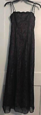 Betsy & Adam By Jaslene Purple & Black Satin Lace A-line Spaghetti Strap Gown 4 for sale  Wyoming
