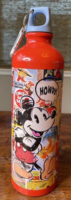 Disney Store Mickey Mouse Cartoon Pop Art Red Metal Water Bottle Sketch
