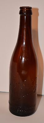 Antique SCHLITZ EMBOSSED Amber/Brown Glass Beer Bottle Washington Branch 1084