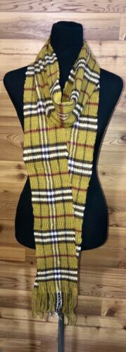 Auth BURBERRY Scarf Cashmere Wool Green Moss Olive