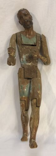 Изображение товара Antique Hand Carved Painted Wood Apostle Or Saint Santos Figure Statue