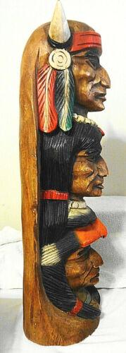 "VTG Northwest Teak Hand Carved Wooden Sculpture 20"" high of THREE Native Faces"