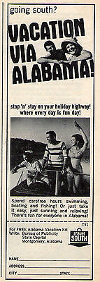 1966 ALABAMA VACATION PRINT AD ~ Montgomery ~ GOING SOUTH ?
