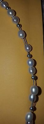 White freshwater pearl on wire with small silver bead ball necklace 17""