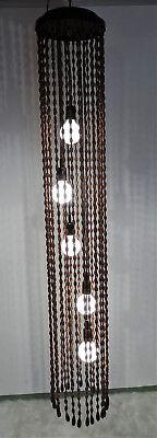 mid century lamp modern design 70s Temde Model 887 Holzperlenleuchte Deckenlampe