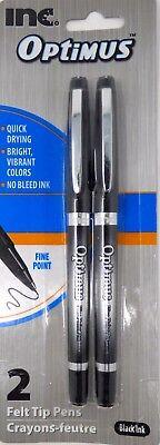 New Inc Optimus Felt Tip Pens Fine Point 1 Pack Of 2 Pens Optimus Black Ink