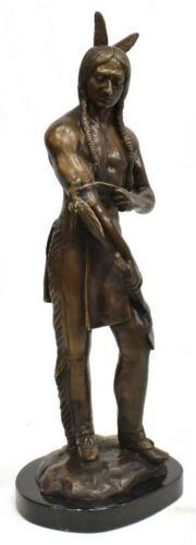 Bronze Sculpture, Standing Indian Brave, Handsome Piece!!