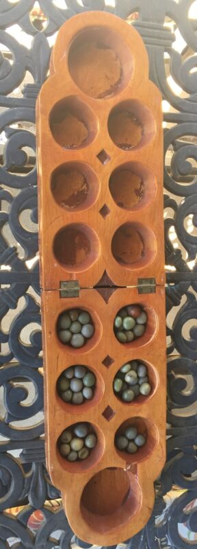 Vintage Carved AYO Mancala Oware Seed African Nigeria Game Board Old Folding