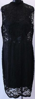 Boohoo Women's Plus High Neck Lace Bodycon Dress GS2 Black Size US:20 NWT