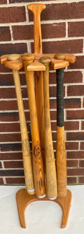 Vintage Store Baseball Bat Lot With Custom Stand Jackie Robinson Nellie Fox