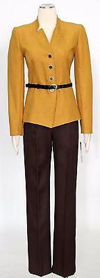 Tahari Mustard Brown Size 6 Polyester Pants Suit Belted Women's New*