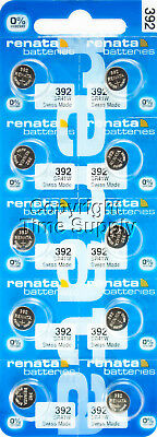 10 Renata 392 Watch Batteries Swiss SR41W  0% MERCURY  Replace LR41 1.5v Watch Replacement Battery