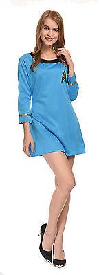 Sale New Star Trek Female Duty TOS Uniform Blue Dress Cosplay Standard Size